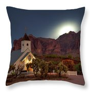 Moonrise At Superstition Mountain Throw Pillow