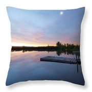Moonrise At The Fishing Pond Throw Pillow