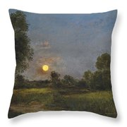 Moonrise Throw Pillow by Charles Francois Daubigny