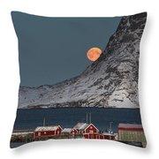 Moonrise In Reine Throw Pillow