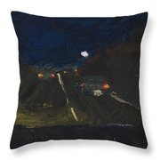 Moonrise On The Road Throw Pillow