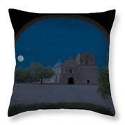 Moonrise On Tumacacori Mission Throw Pillow by Sandra Bronstein