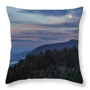 Moonrise Over Crown Point Throw Pillow