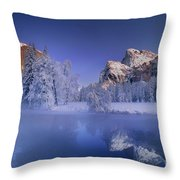 Moonrise Over Gates Of The Valley Yosemite National Park Throw Pillow