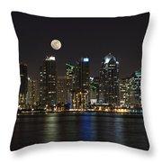 Moonrise Over San Diego Throw Pillow