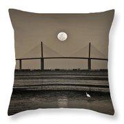 Moonrise Over Skyway Bridge Throw Pillow
