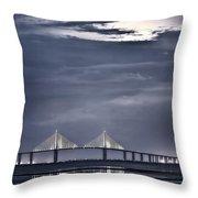 Moonrise Over Sunshine Skyway Bridge Throw Pillow by Steven Sparks