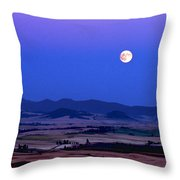 Moonrise Over The Palouse By Jean Noren Throw Pillow