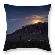 Moonrise Over The Superstitions Throw Pillow