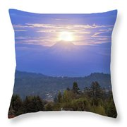 Moonrise Over The Top Of Mount Hood Throw Pillow