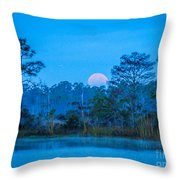 Moonset At The Hungryland Throw Pillow