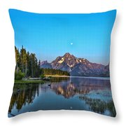 Moonset On Jackson Lake Throw Pillow