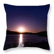 Moonset Over Abiquiu Lake Throw Pillow