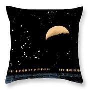 Moonset Over Depot Throw Pillow