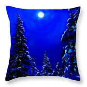 Moonshine On Snowy Pine Throw Pillow