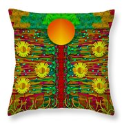 Moonshine Over The Golden Sacred Pond  Throw Pillow