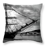 Moored At Hobart Bw Throw Pillow