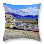 Moored Boat On Purteen Harbour Throw Pillow