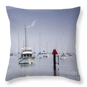 Moored Boats In Morro Bay Throw Pillow