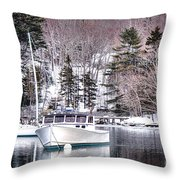 Moored Boats In Maine Winter  Throw Pillow