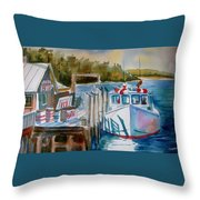 Moored Fishing Boat Throw Pillow