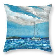 Moored In The Bay Throw Pillow