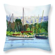 Moored Ketch Throw Pillow