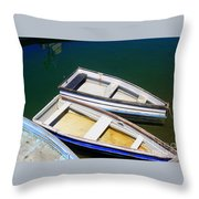 Moored Row Boats Throw Pillow