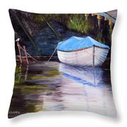 Moored Rowing Boat Throw Pillow