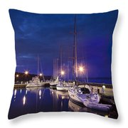 Moored Sailboats Throw Pillow