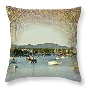 Moored Yachts In A Sheltered Bay Throw Pillow
