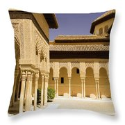 Moorish Architecture In The Nasrid Palaces At The Alhambra Granada Throw Pillow