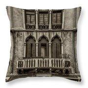 Moorish Style Windows Venice Monotone_dsc1450_02282017 Throw Pillow