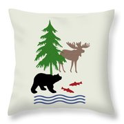 Moose And Bear Pattern Art Throw Pillow