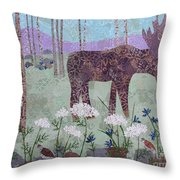 Moose And Three Sparrows Throw Pillow