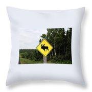 Moose Crossing Throw Pillow