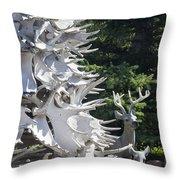 Moose Horn Tree Throw Pillow