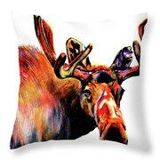 Moose In Orange Throw Pillow