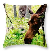 Moose Munching Throw Pillow