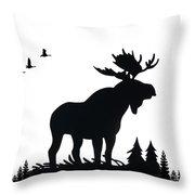 Moose Nature Throw Pillow