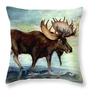 Moose Reflections Throw Pillow