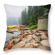 Moraine Lake And Boathouse Throw Pillow