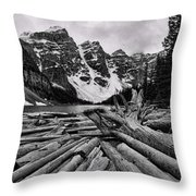 Moraine Lake Driftwood No 2 Throw Pillow