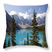Moraine Lake In Banff National Park Throw Pillow by Bryan Mullennix