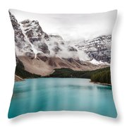 Moraine Lake In The Clouds Throw Pillow