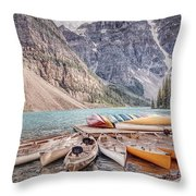 Moraine Lake Transportation  Throw Pillow