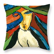 Morden Art Girl Throw Pillow