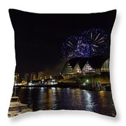 More Fireworks At Newcastle Quayside On New Year's Eve Throw Pillow