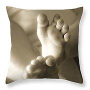 More Little Feet Throw Pillow