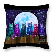 More Moonlight Meowing Throw Pillow